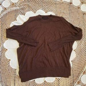 AllSaints Dark Plum Long Sleeve cold shoulder top